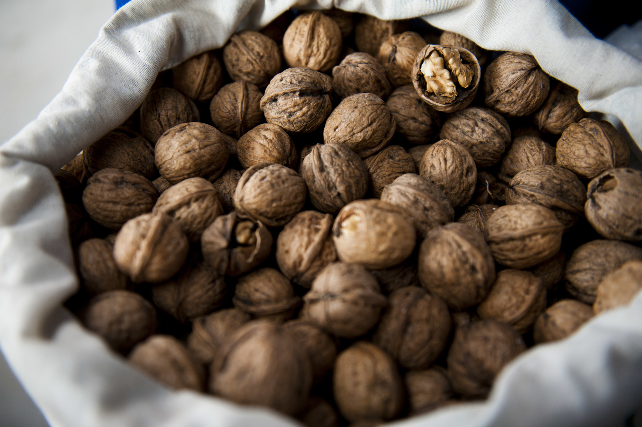 A picture of a cloth bag filled with walnuts in their shells