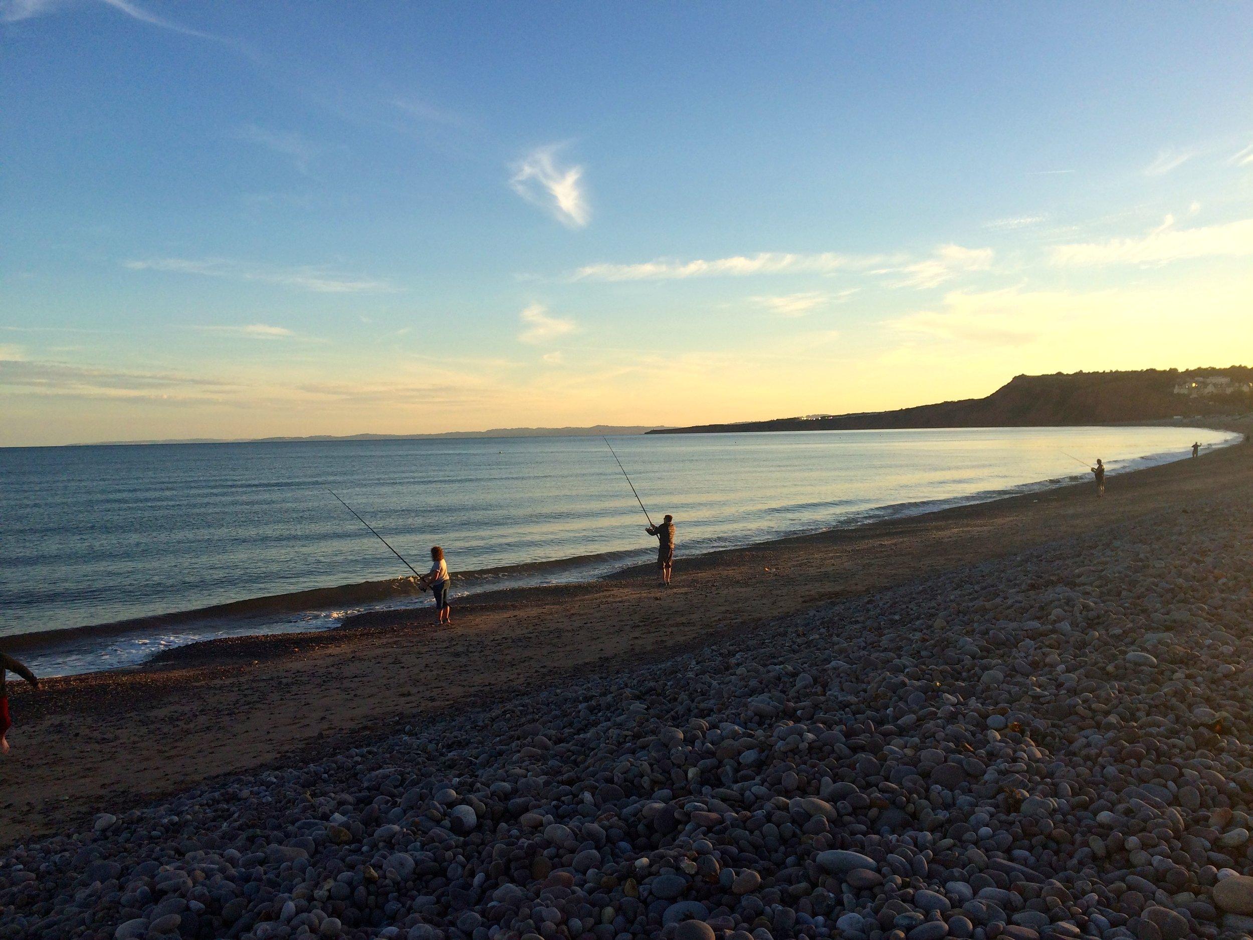 budleigh salterton beach at sunset