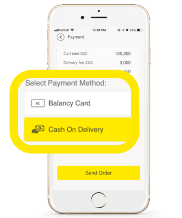 The balance card feature in Erbil Delivery app