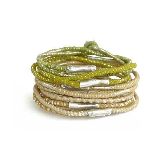 Stack Tanvi Kant Textile Bracelets Sand Golden Yellow and Silver.jpg