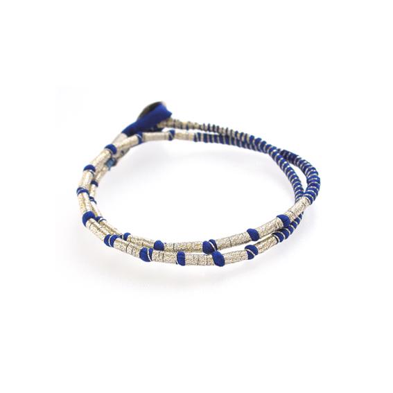Tanvi Kant Cobalt Golden Silver Wrap Bracelet Textile Jewellery.jpg