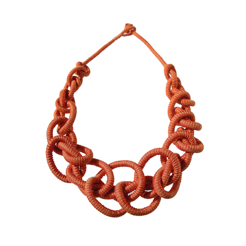 Copper Orange Graduated Looped Short Necklace Tanvi Kant.jpg