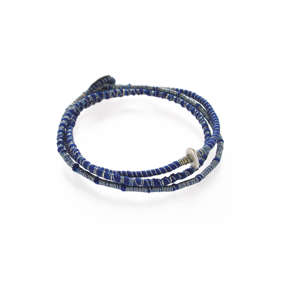 Tanvi Kant Cobalt Print Silver Nugget Bracelet Textile Jewellery.jpg