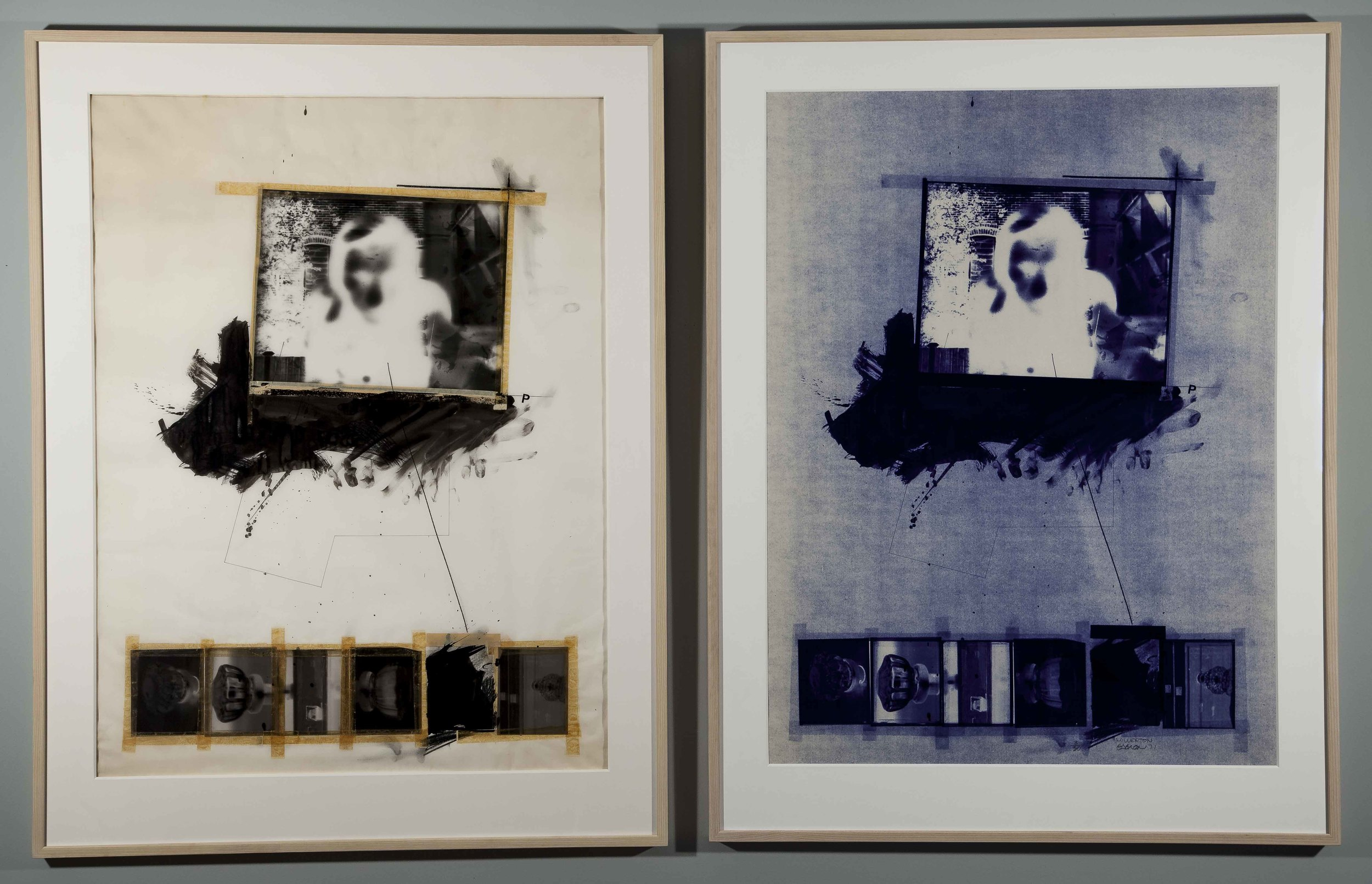 """1971, """"Millerton"""" (Diptyque modèle & """"blueprint""""), techniques mixtes sur papier"""