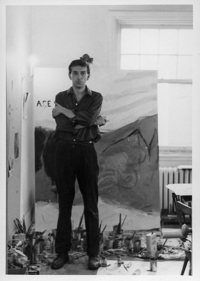 """Charles Gagnon, dans son studio """"salon"""" de la rue Lincoln avec """"Été - Summer"""", circa 1961"""