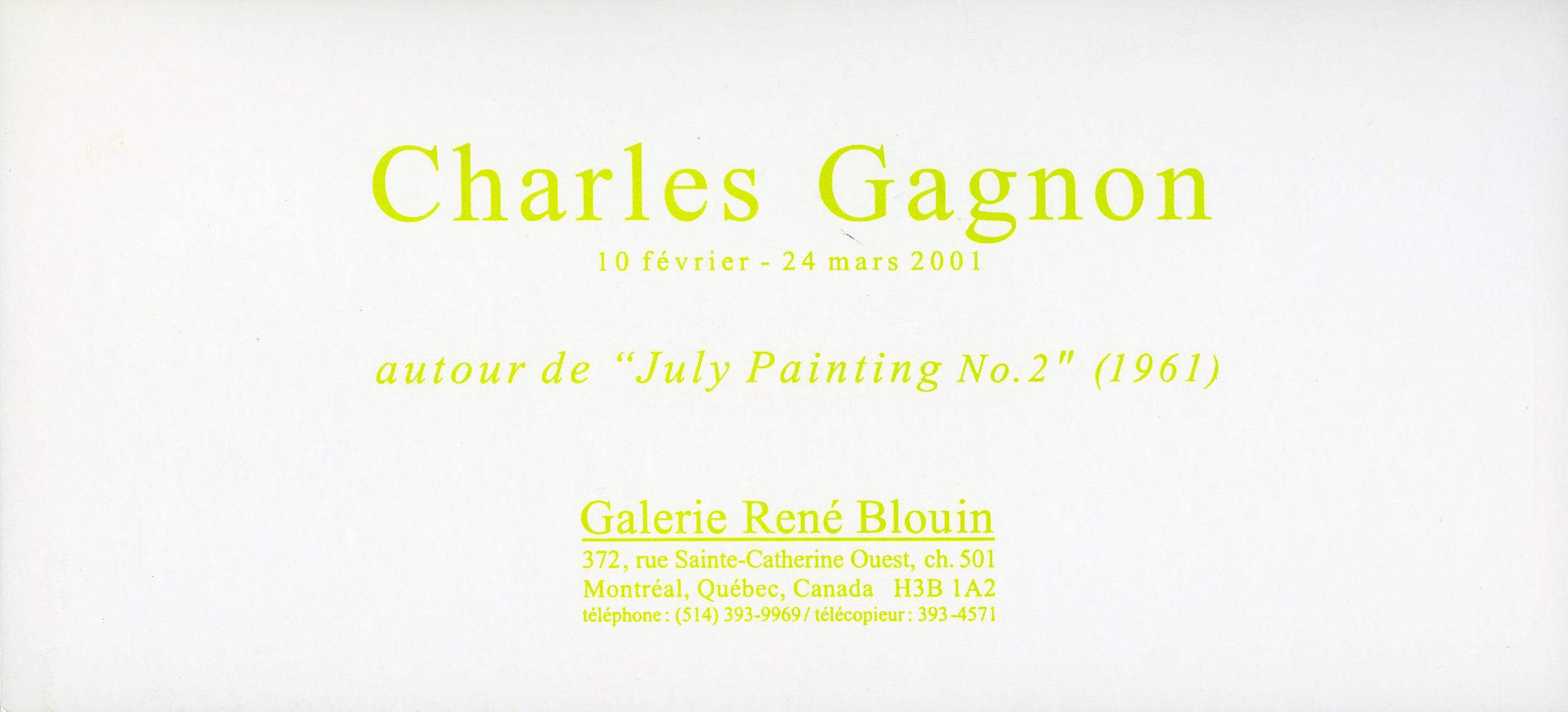invitation à la Galerie René Blouin, 2001