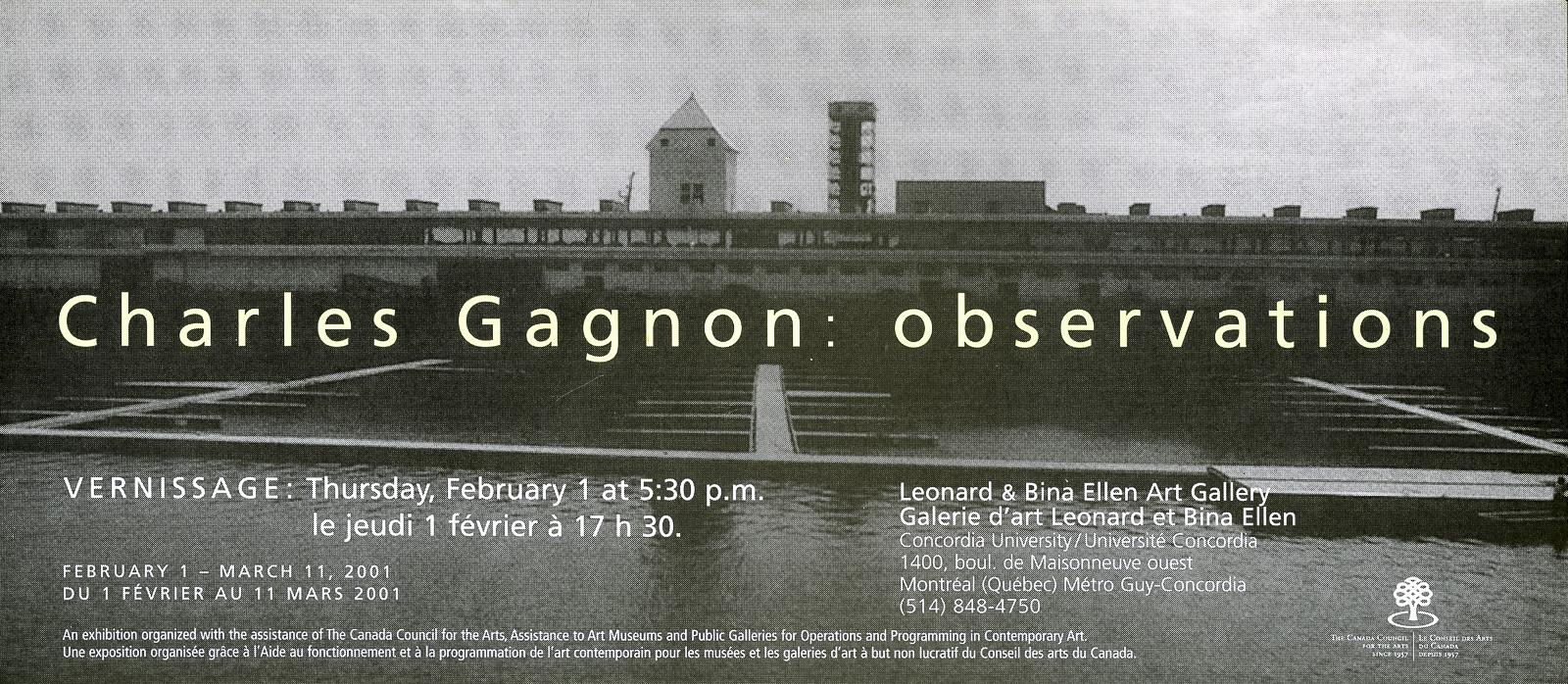 'Observations' exhibition invitation, Leonard & Bina Ellen Art Gallery, 2001