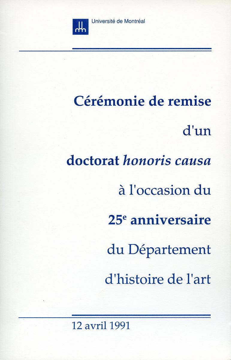 Université de Montréal Programme de la cérémonie de Doctorat, 1991