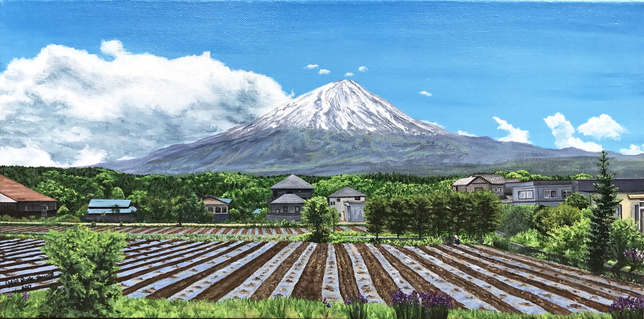 """Fields and Fuji"" — 20""x11"" Acrylic on canvas"