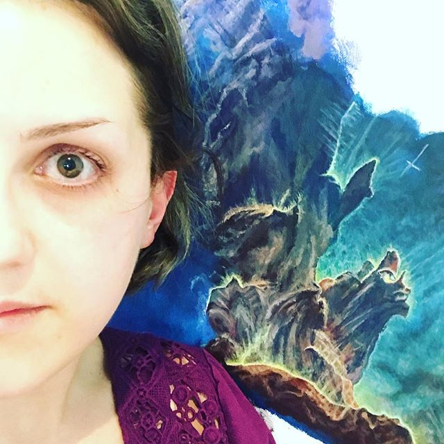 It suddenly occurred to me that a half selfie with the in-progress #pillarsofcreation could be a thing #halfselfie #spacepainting #workinprogress #stillgoing #eaglenebula #hubblepainting