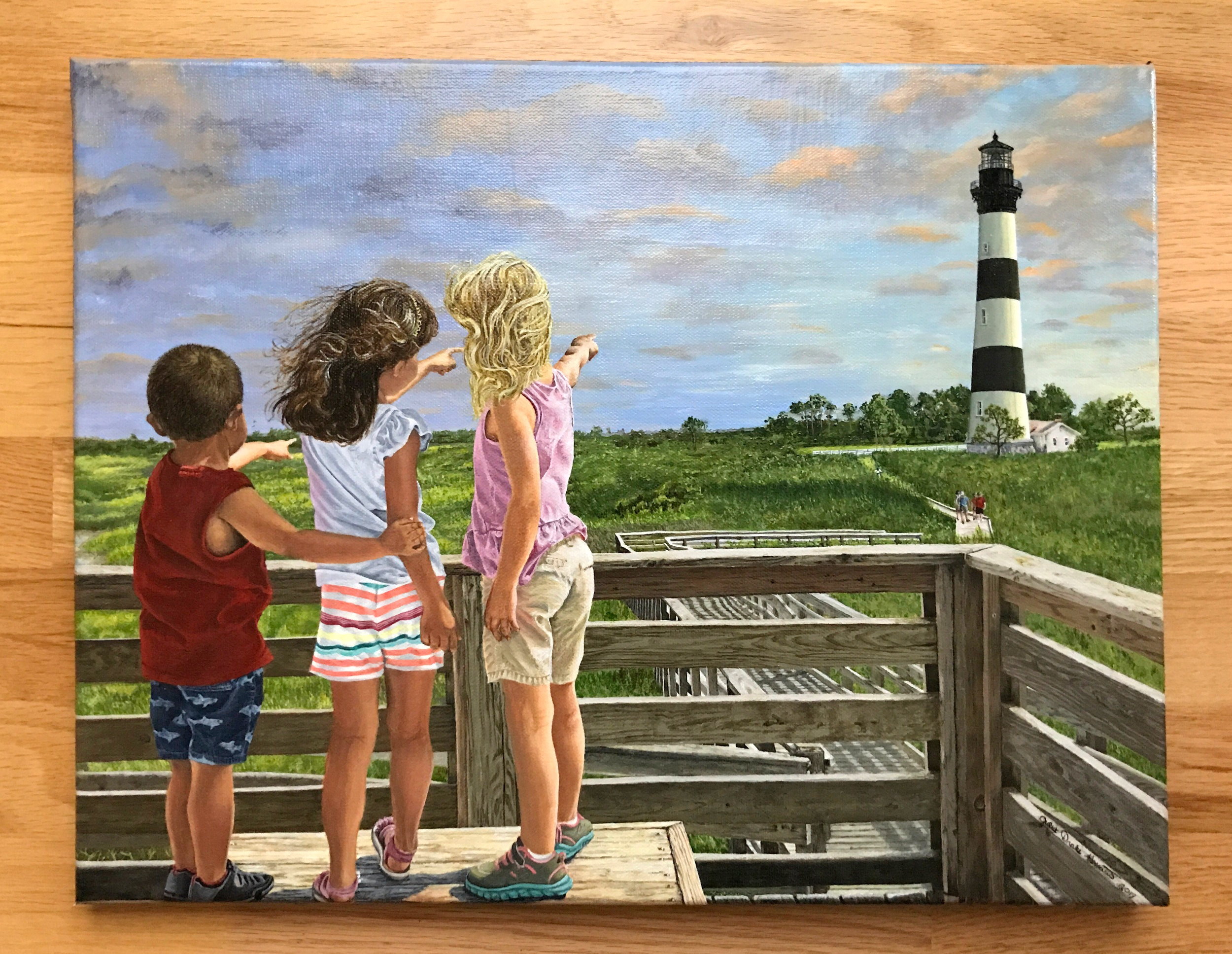 """Cousins at Bodie Island Lighthouse"" — 20""x16"" Acrylic on Canvas"