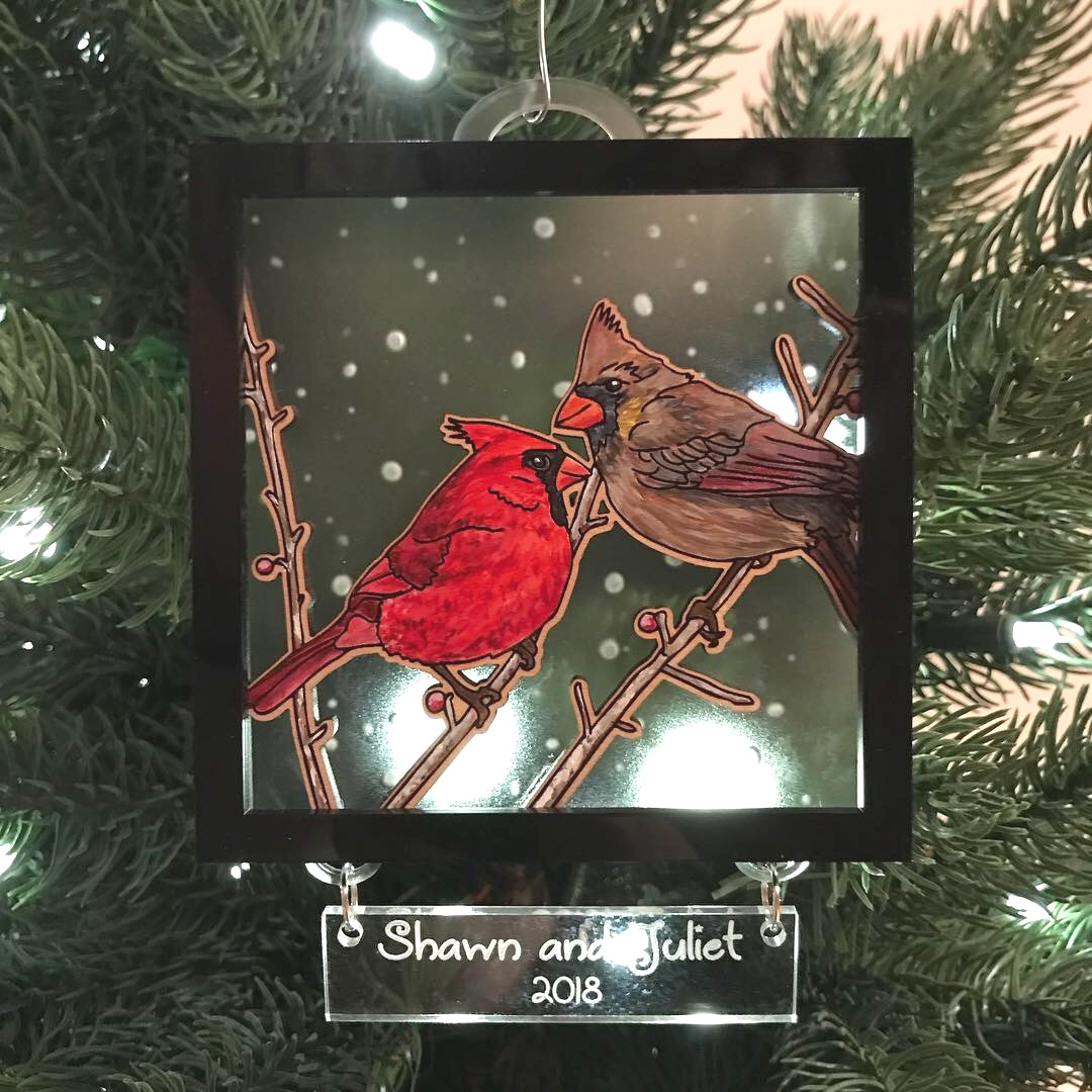 """A Pair of Cardinals"" custom Christmas ornaments - Acrylic on wood with engraved clear acrylic and black acrylic"