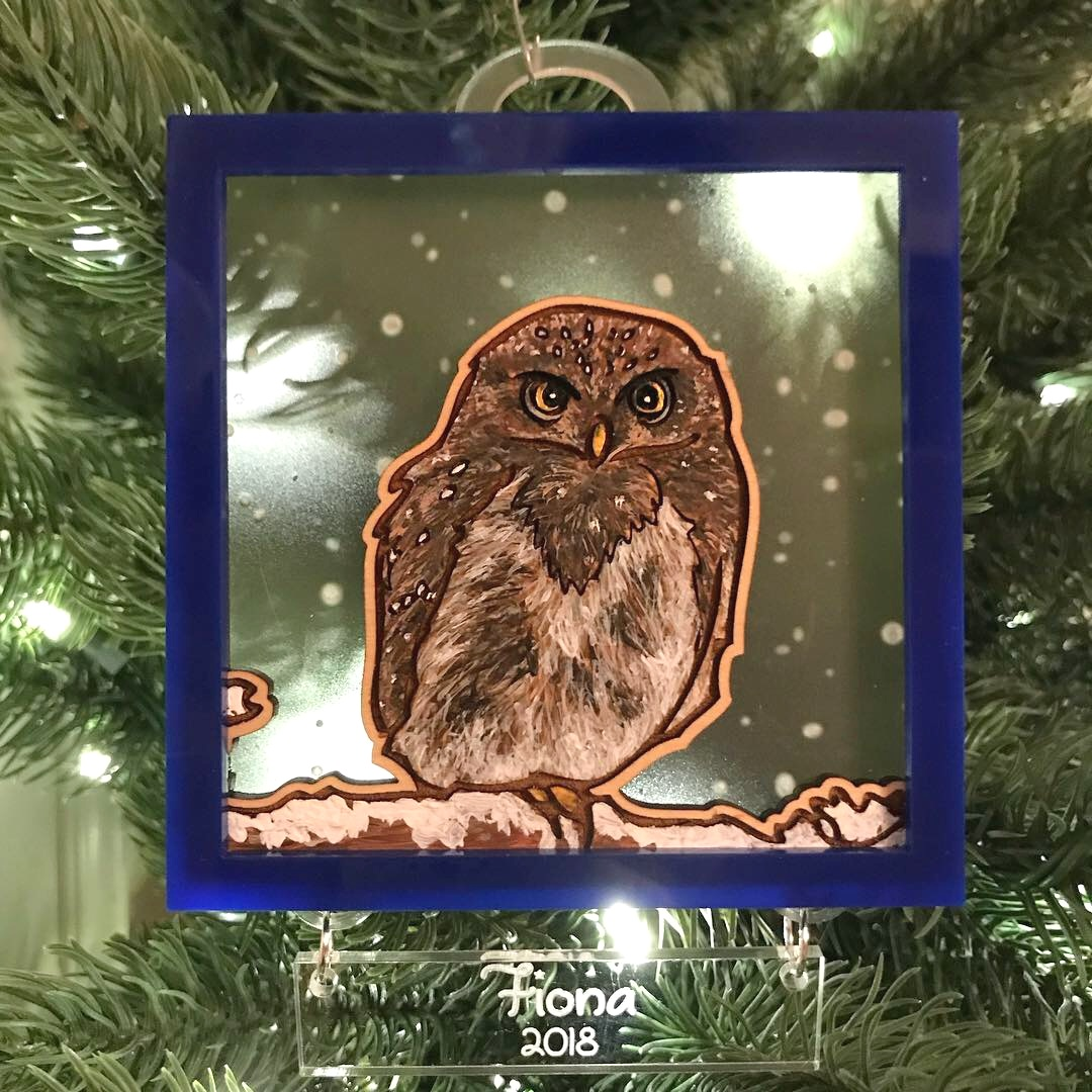 """Pygmy Owl"" custom Christmas ornaments - Acrylic on wood with engraved clear acrylic and blue acrylic"