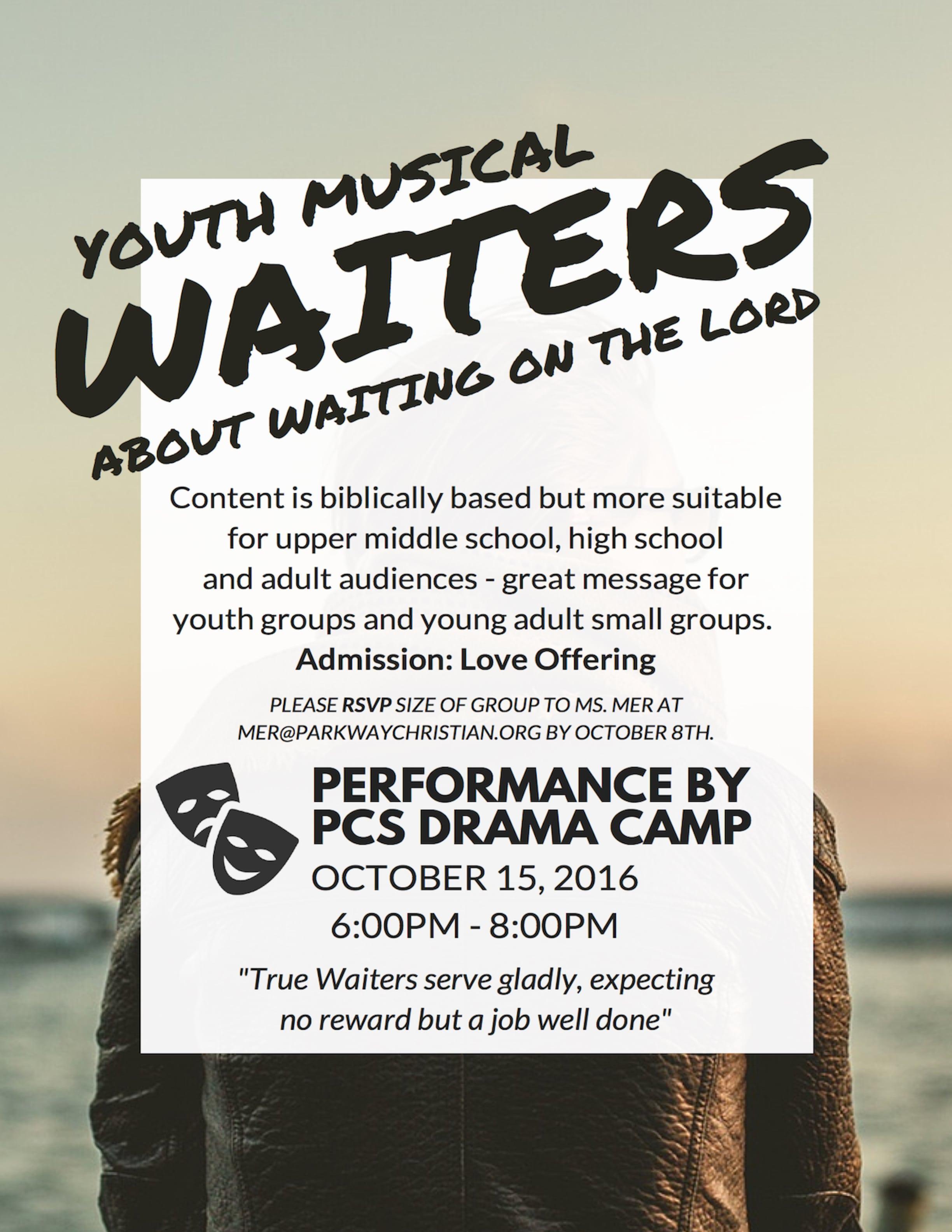 Parkway Christian School Summer Drama Camp Performance - Waiters