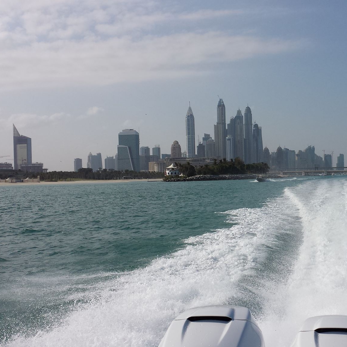 This is looking back toward Dubai marina from one of the P38s blasting along at about 60 knots.