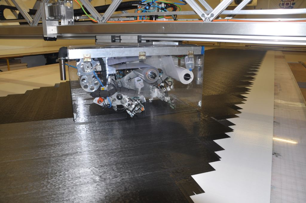 The NTPT Automatic Tape Layer (ATL) can laminate fibre from 30g to 300g at any angle - up to 2000 lin.m. of laminate can be laminated in a day.