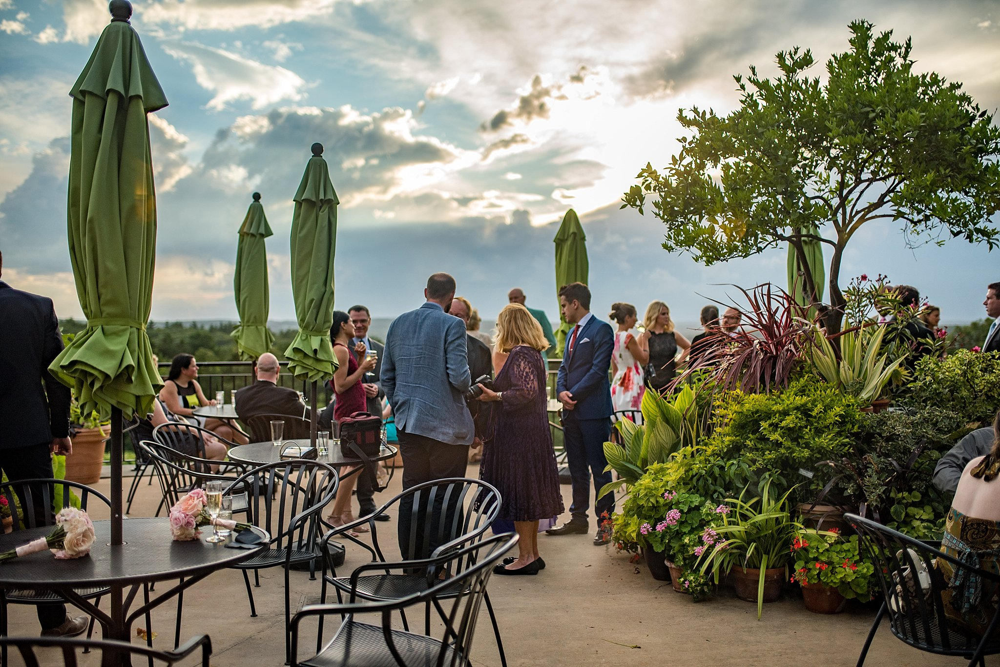 outdoor cocktail hour during sunset at tower hill botanic garden
