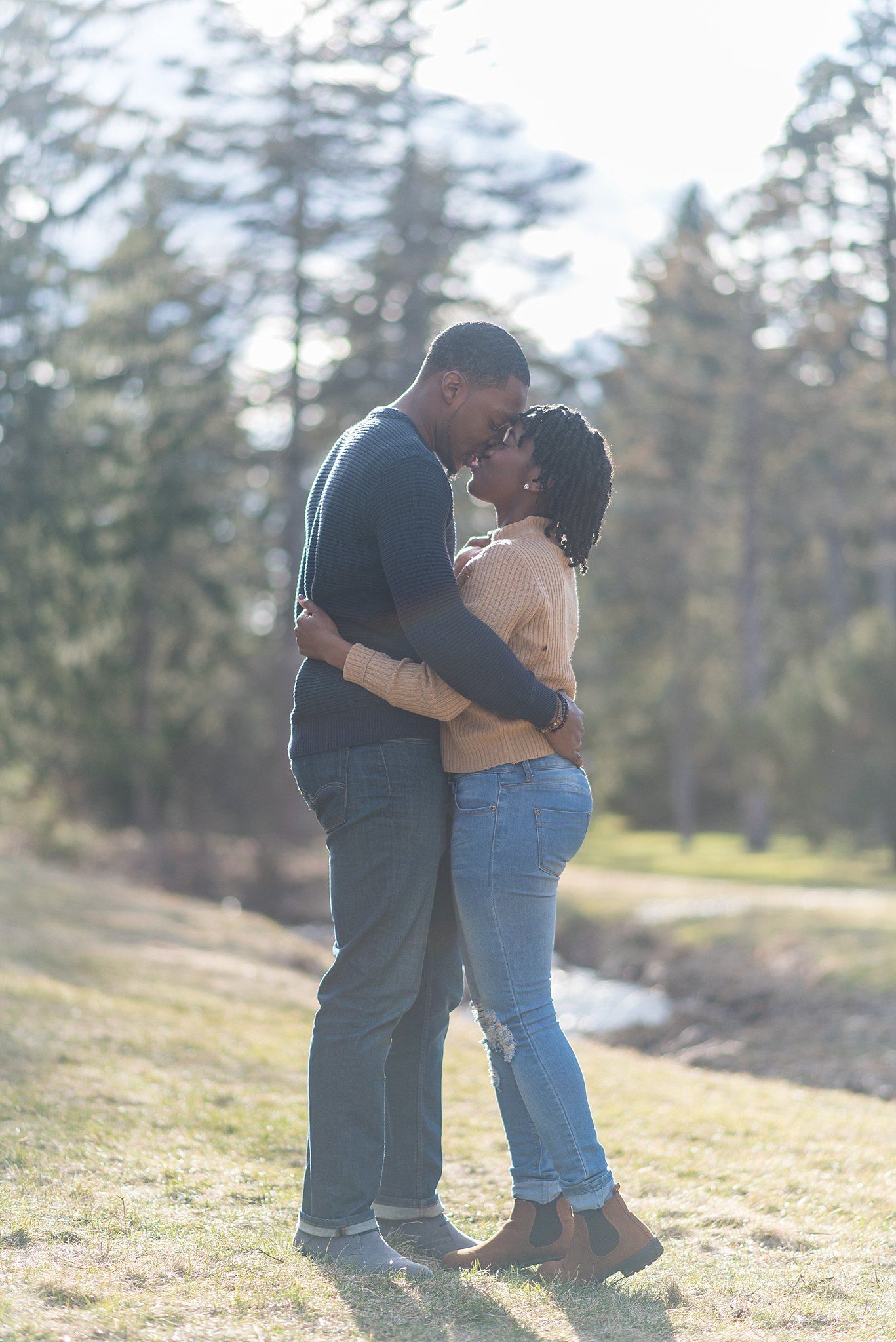 Couple hugging at the Arnold Arboretum