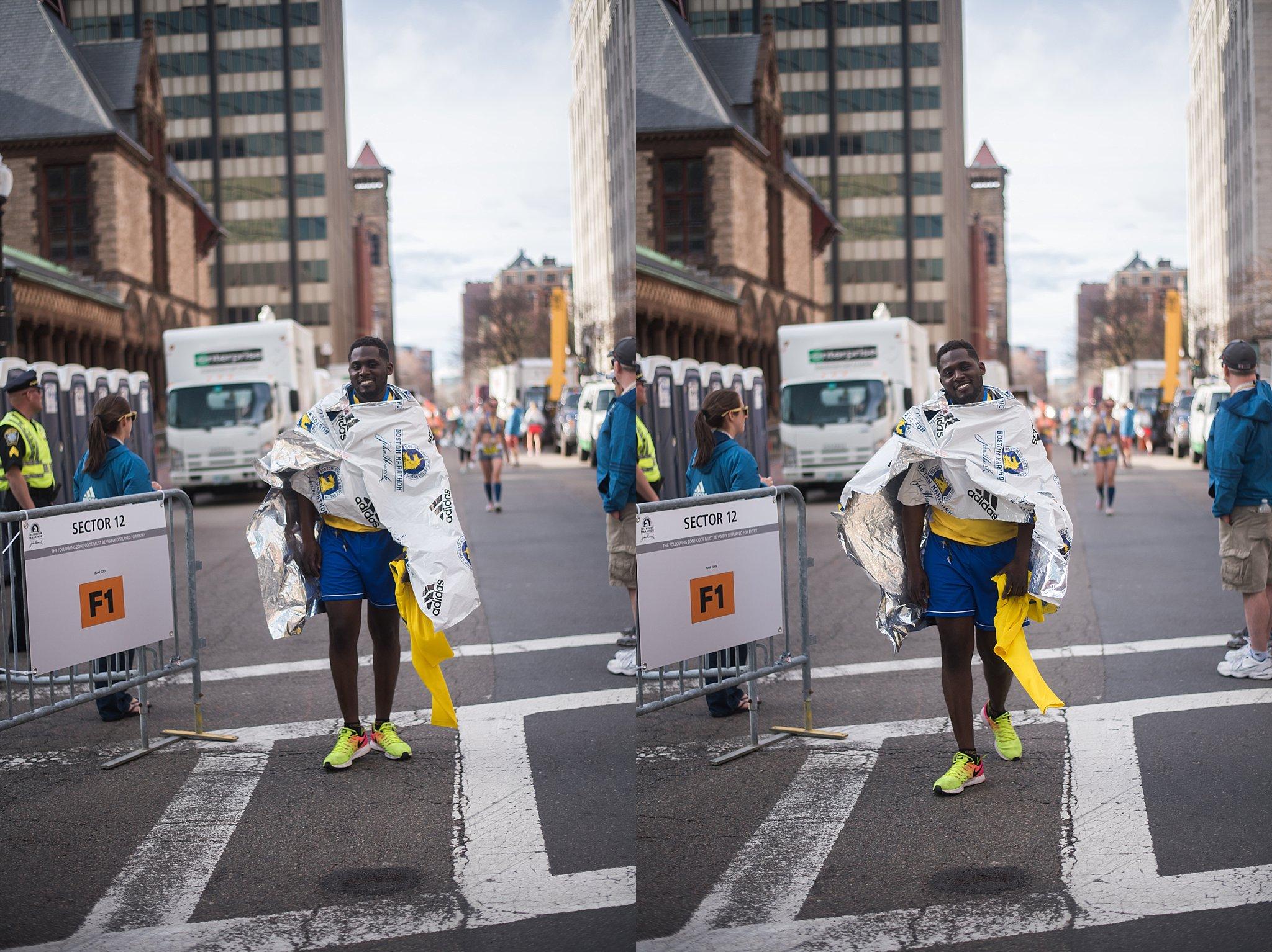 Crossing the marathon finish line