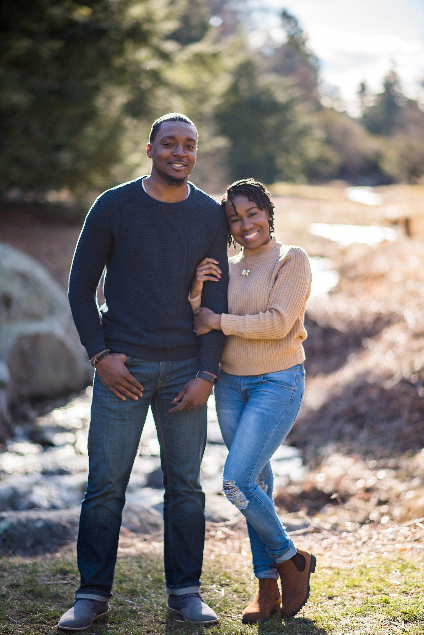 black couple at the arnold arboretum engagement session