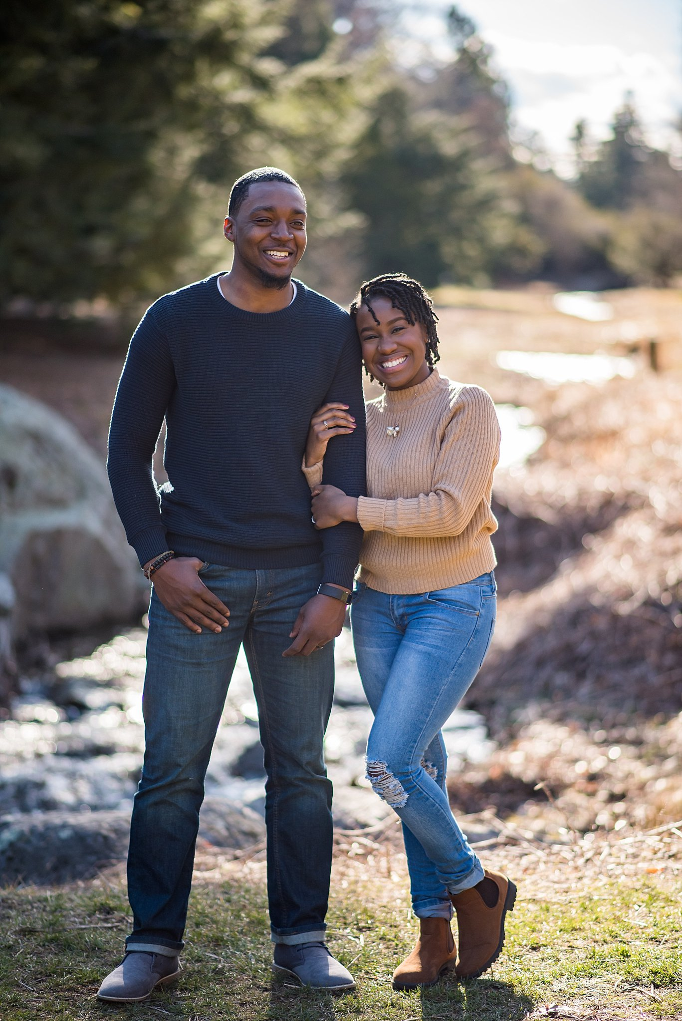 happy engagement session at the arnold arboretum