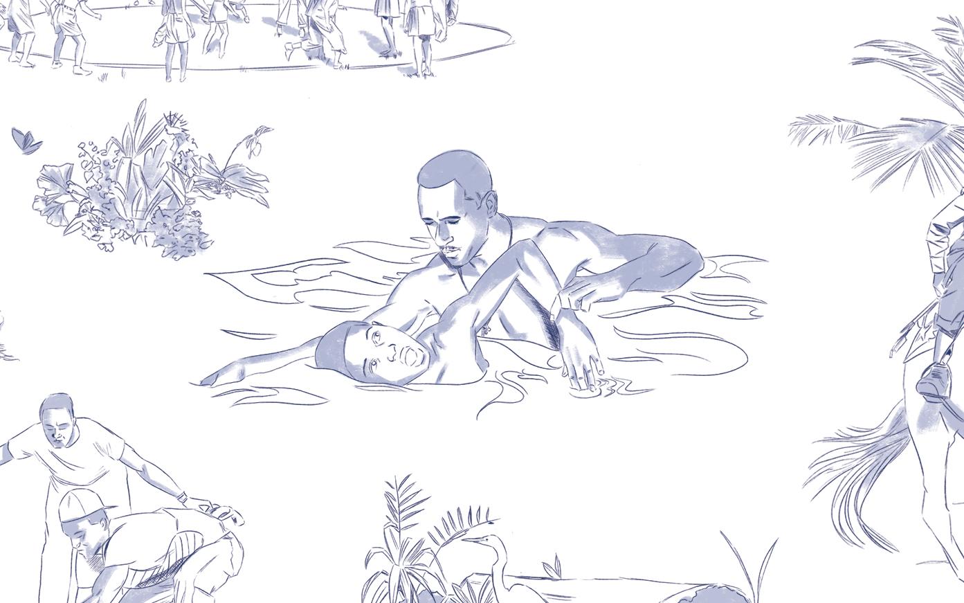 'Restoration Toile' - Swim Lesson (Detail), 2019