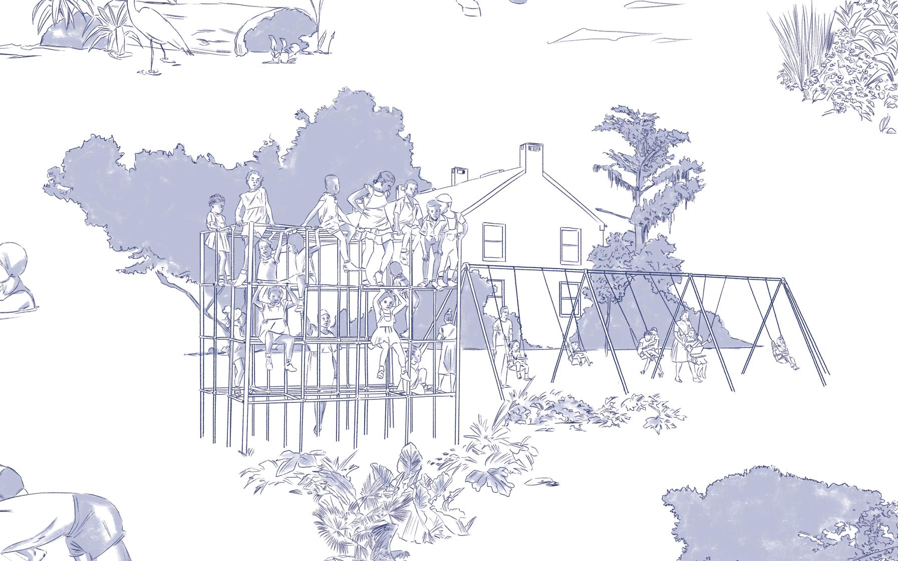 'Restoration Toile' - Kids on a Playground(Detail), 2019