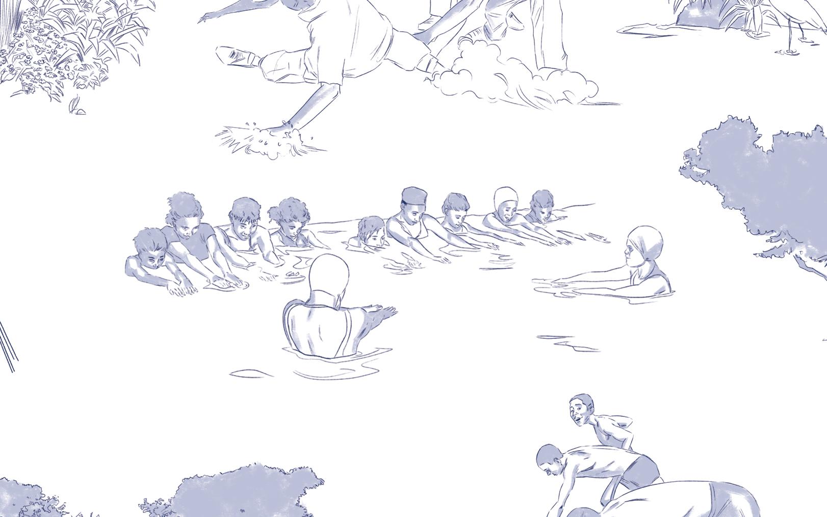 'Restoration Toile' - Girl's Swimming(Detail), 2019