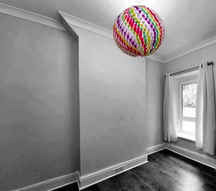 Kaleidosphere Pendant - Triangular, handcut woven wood paper