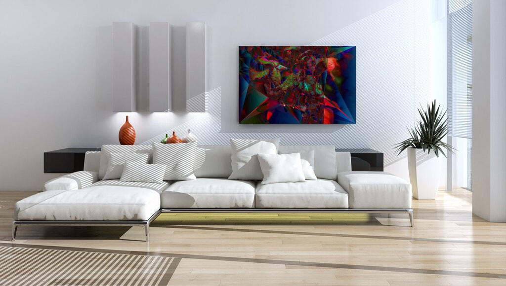 Cubist Twilight Blooms abstract artwork on acrylic glass and fine art prints