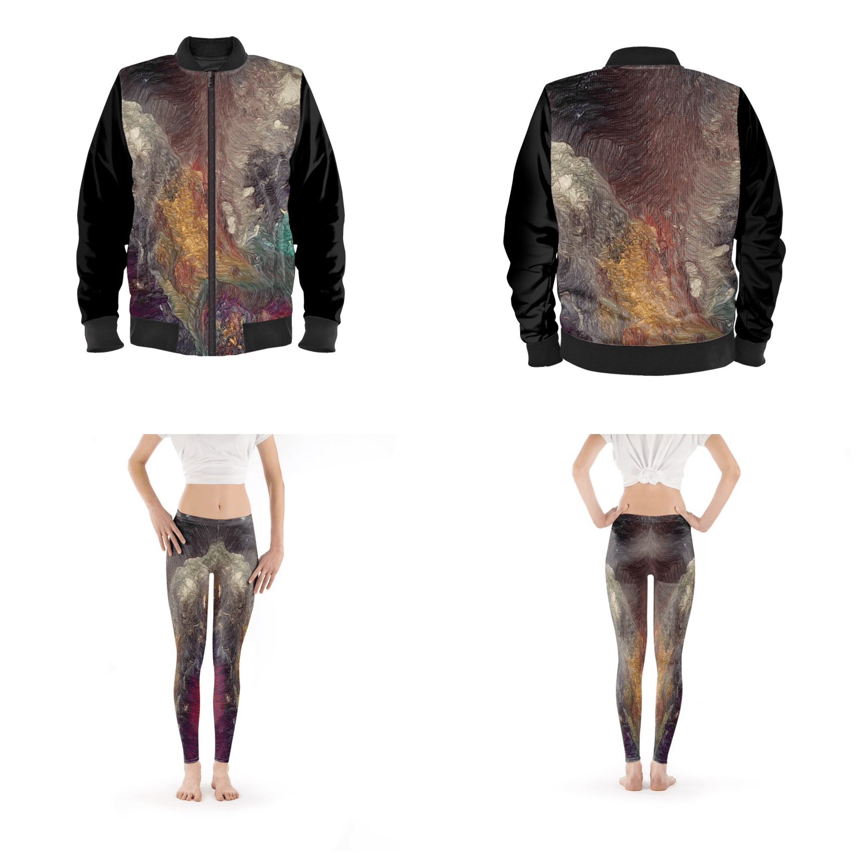 Bomber jacket and leggings in a classic fade out to keep the vibrancy and focus on the skater dress.