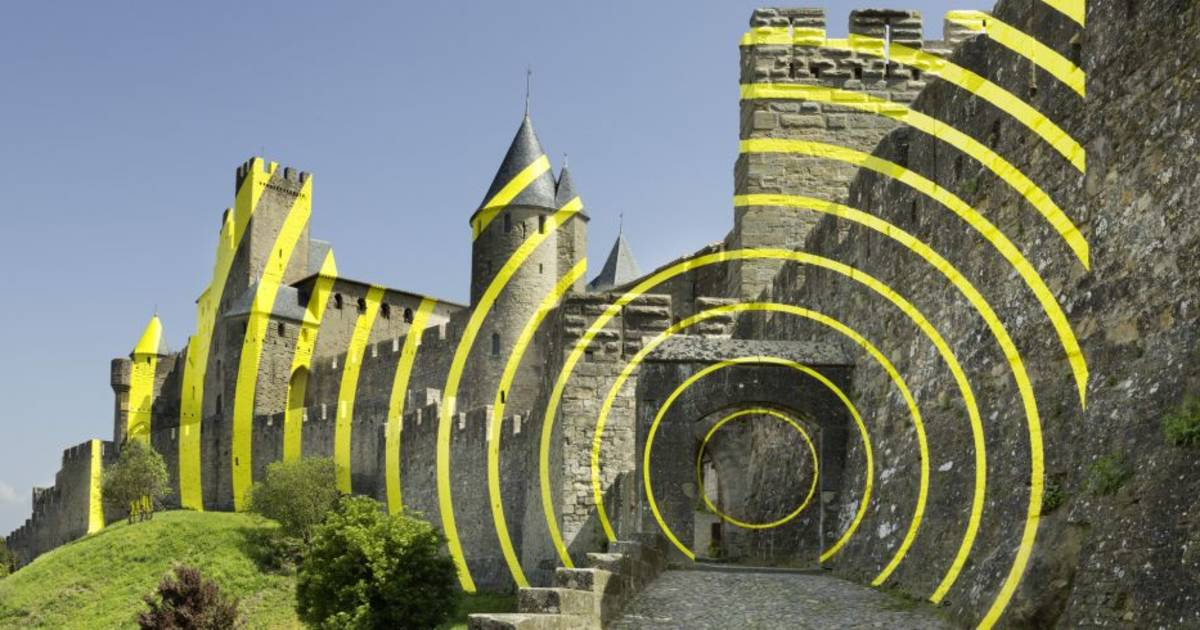 Medieval masterpiece vandalised by contemporary art, Carcasonne, France
