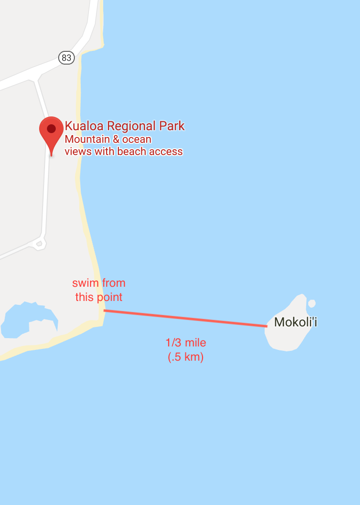 click for directions to Kualoa Park (above map adapted from Google)