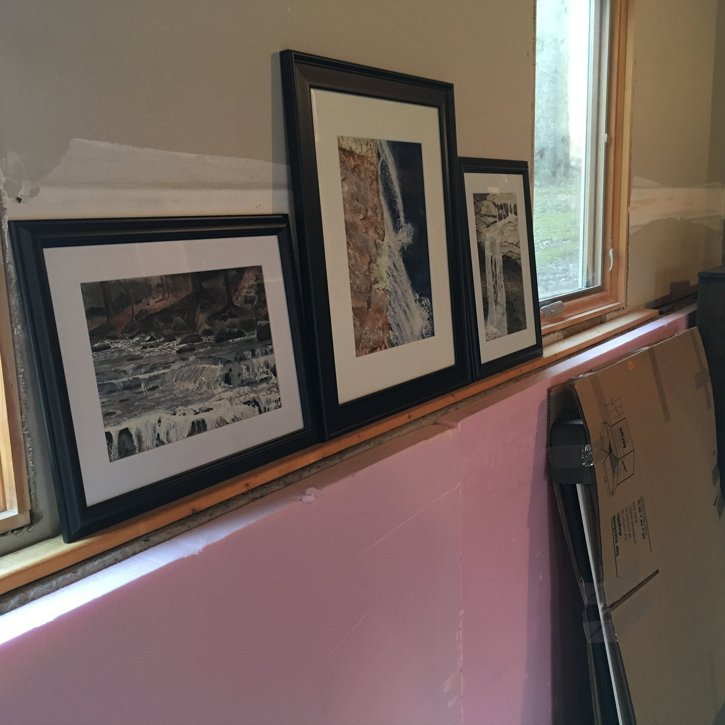 Once the drywall is finished I will have a wonderful shelf to display my paintings