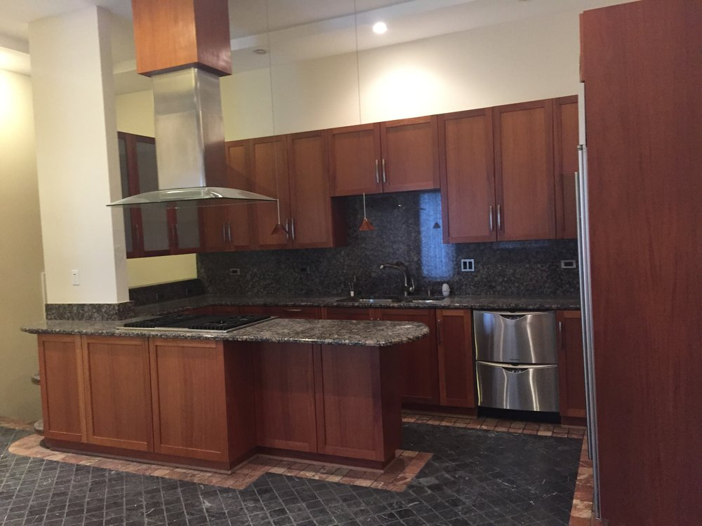 Shaker Glass Dark Brown Wood Kitchen Cabinets Thermador Bosch Stainless Steel Appliances Little Green Kitchens