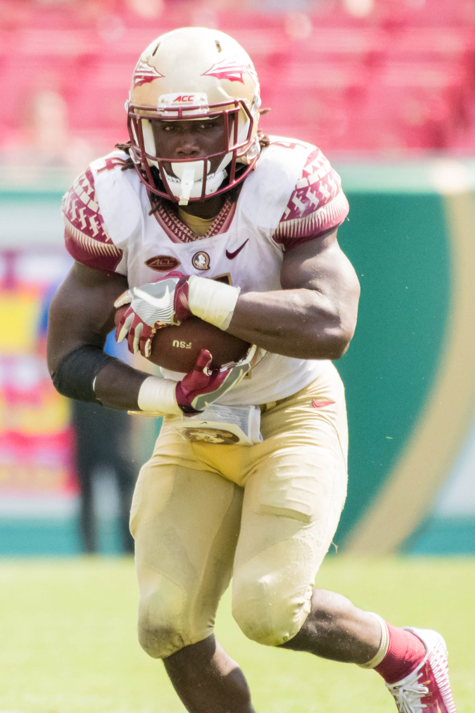 The eyes of Dalvin Cook as he looks to break a big run.
