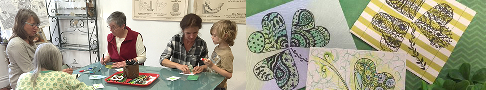 Creating up-cycle Shamrock Cards for St. Patrick's Day.
