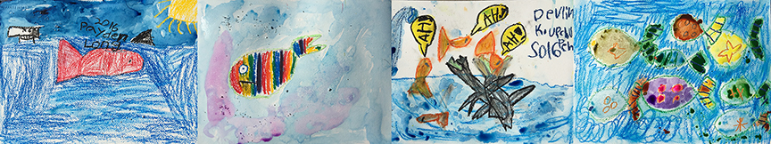 """Acrylic and Watercolor paintings from """"Something Fishy is Going On Around Here"""""""