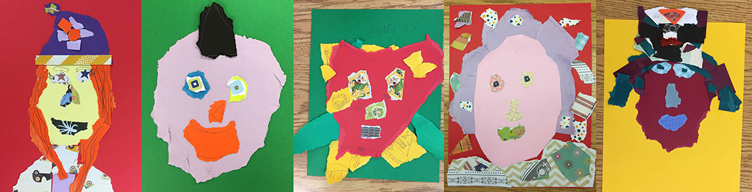Torn paper portraits, from Mokelumne Hill Elementary School.