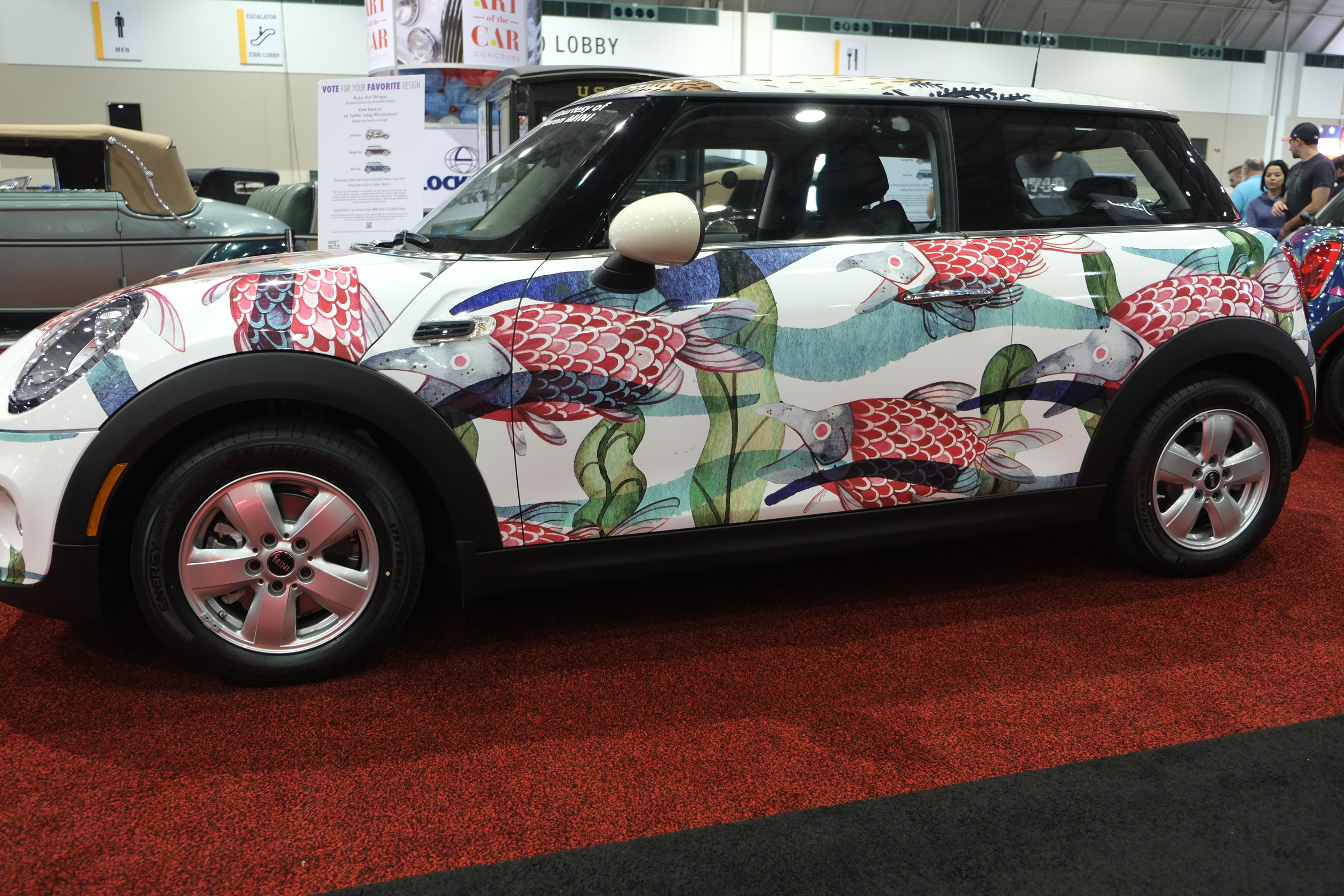 "Alison Polston's first place winning BMW Mini wrap ""Salmon Run""."
