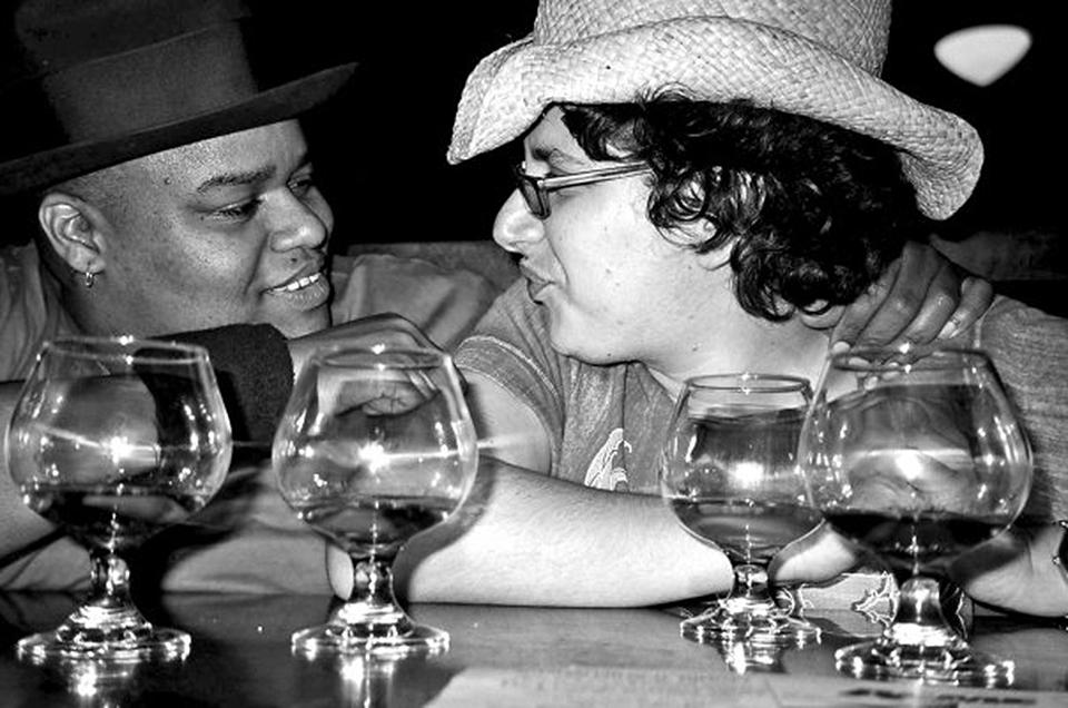 Toshi, Bob and single malt scotch. Photo: Sara Seinberg