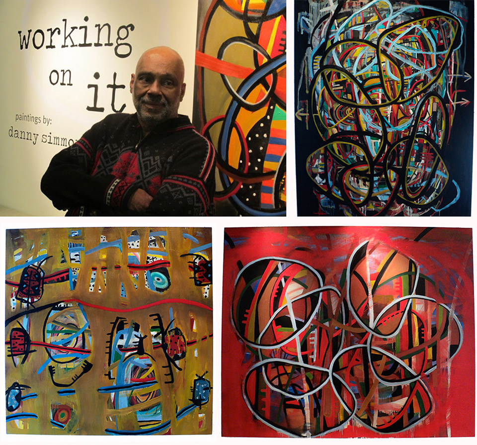 His Gallery at Wagner opening reception, photo by  Debbie Hardy ; Complications and dissertations (2012); Red goes with everything  (2012) and Long time coming/long time gone (2012)