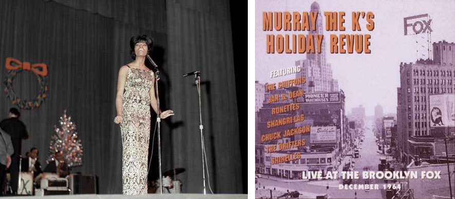 Dionne Warwick at the Fox Theatre, Brooklyn December, 29 1964. Photo: Donaldson Collection/Getty Images. Murray the  K's  Holiday Revue album cover from December 1964.