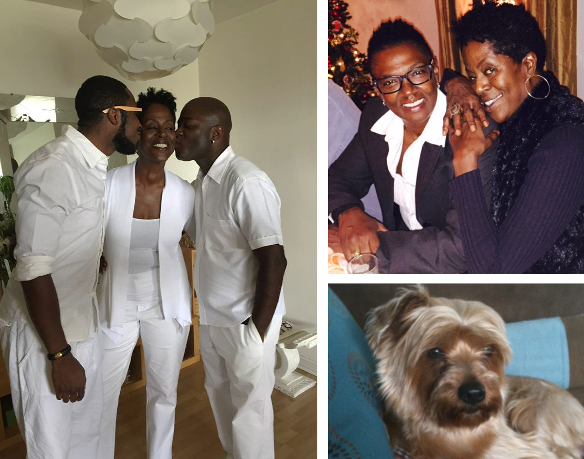 Surrounded by love: Devin (left) and Sirron flank their  fit , fly mama; twenty years and counting with Nora; and the golden boy, pampered pooch, Bentley.
