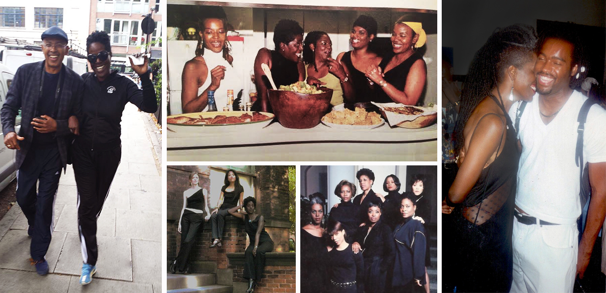 Clockwise from  ieft :High  stepping in London with Glenn Tunstull; gathering at a mentoring dinner with Jackie Rhinehart, Nora Nelson, Katina Bynum and Gwendolyn Quinn; hugs and a sexy side view with fashion and costume designer, Emilio Sosa at a BFC fashion show: with the women of Sister Friends; and with her partners in Elle Empire Jordan Anderson and Cielito Pascual.