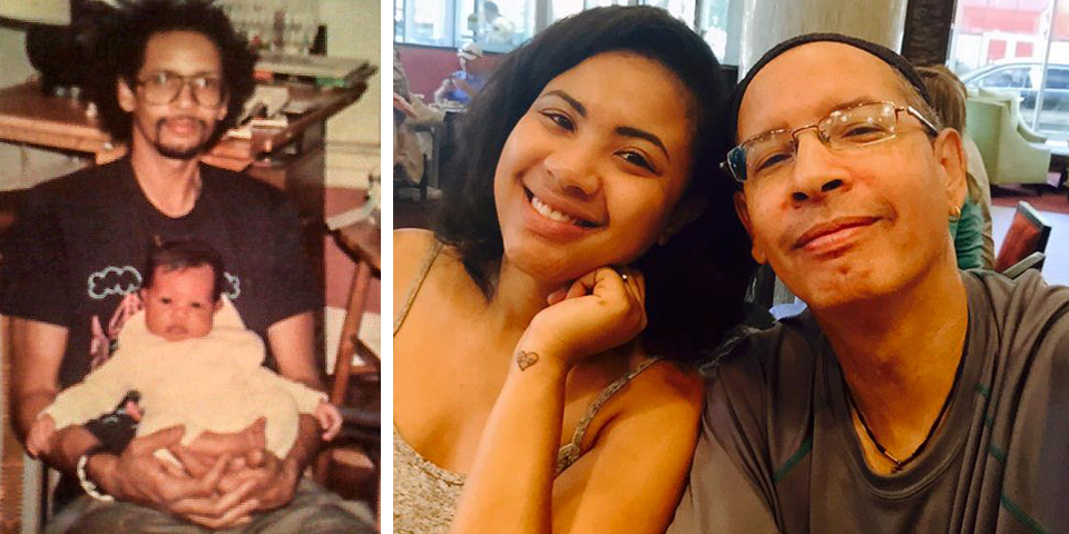 """Then and now: Jimmy and his beloved daughter, Loni. He and wife Sherri parted when Loni  was  just a toddler and co-parented from two homes. The teen years were challenging, but today, it's all love, all around. """"I enjoy being a father,"""" he says. Photos courtesy of Jimmy James Greene."""