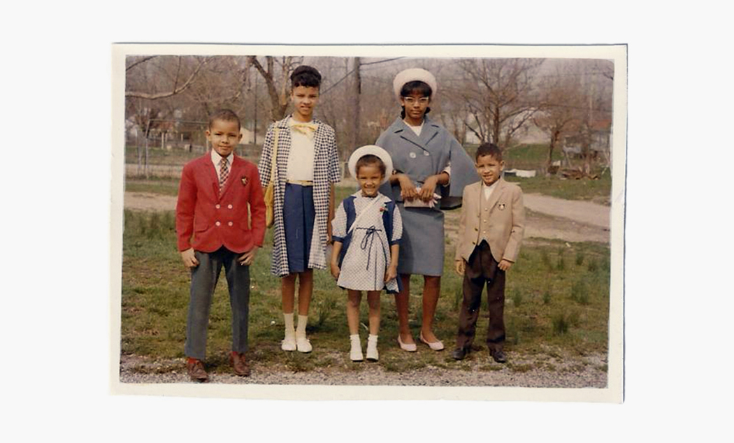 The Greene siblings: (from left) future engineer/city planner, Paul; future blind rehabilitation therapist, Jan; future anesthesiologist, Brenda;future radiologist,Judy, and always artist/musician Jimmy. Photo courtesy of Judy L. Greene.