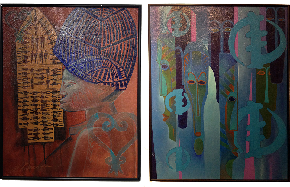 From the  Adinkra  series, Sankofa  (left) and  Ubiquity  (right) both, acrylic on canvas.