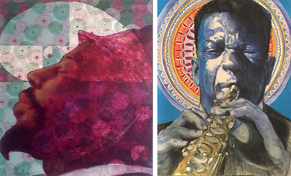 His love of music finds its way into his visual art: (left)  Monk's Dream  and (right) Saint John  [Coltrane}, watercolors, colored pencils and acrylics.