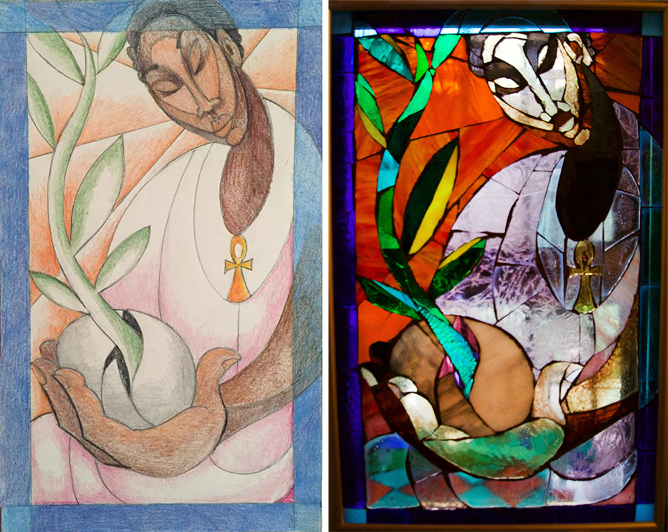 The original sketch for  Cultivate, and the completed stained glass mosaic.